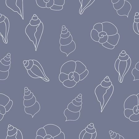oceanside: seamless pattern with seashells on the gray background