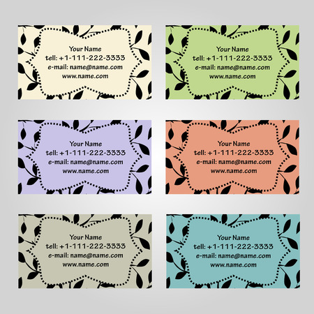 complied: Set of six horizontal business cards in different soft colors. Vintage pattern with leaves. Complied with the standard sizes.