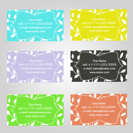 complied: Set of six horizontal business cards in different colors. Vintage pattern with leaves. Complied with the standard sizes.
