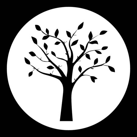 branches with leaves: Black and white vector illustration of tree silhouette in the round frame