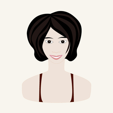 skin face: Vector illustration of girl with black hair and pale skin. Face of young woman. Winter seasonal color. Illustration