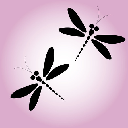 dragonfly wings: Two vector black dragonflies on the pink background Illustration