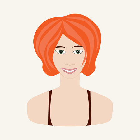 autumn woman: Vector illustration of girl with red hair and green eyes. Face of young woman. Autumn seasonal color.