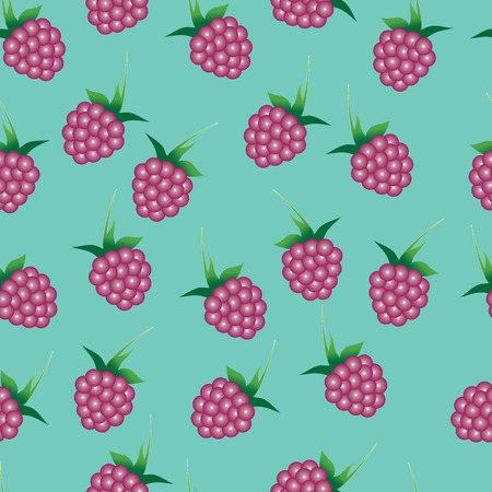 emerald: Vector seamless pattern with bright pink raspberries on the emerald green background