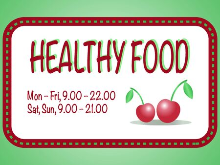 food store: Healthy food store sign. Vector illustration of two red cherries in the square frame with text. Pair of berries are isolated on the white background. Illustration
