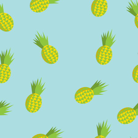 pineapple juice: Vector summer seamless pattern with pineapples soft blue background. Flat illustration of tropic fruits. Illustration