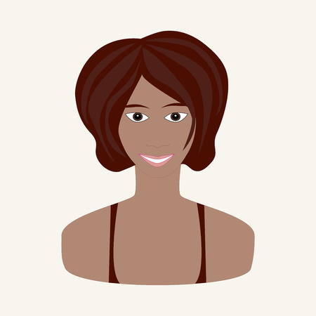 hazel: Vector illustration of girl with chestnut hair, hazel brown eyes and tanned skin. Face of young woman. Summer seasonal color.