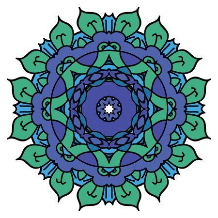 easterly: Blue vector mandala. Isolated round element.