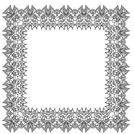 easterly: Black-and-white ornamental vector frame. Isolated square element.