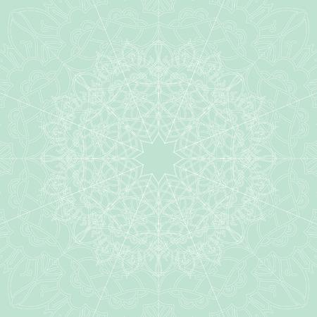 light green background: Ornamental vector mandala on the light green background