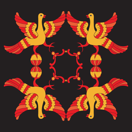 folkloric: Ornamental vector illustration of mythological birds. Red and yellow phoenix birds on the black background. Folkloric motive. Hohloma style. Fairy tales, stories, myths and legends decoration. Illustration