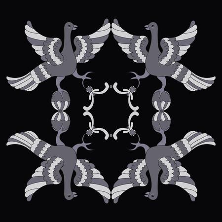 mythological: Ornamental vector illustration of mythological birds.