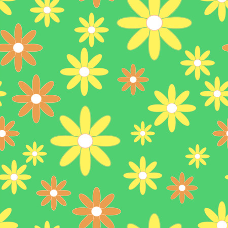 camomiles: Vector seamless patter with plane flowers. Background with yellow and orange simple camomiles on the green background.