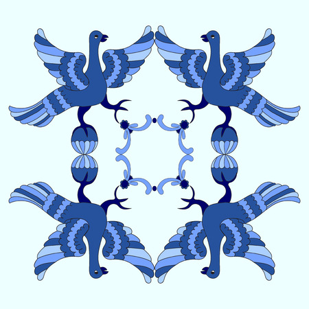 motive: Ornamental vector illustration of mythological birds. Blue template. Gzhel style. Folkloric motive. Fairy tales, stories, myths and legends decoration. Illustration