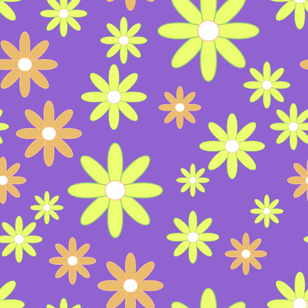camomiles: Vector seamless patter with plane flowers. Background with yellow and orange simple camomiles on the purple background.