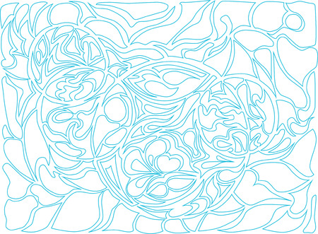 loops: Vector illustration of doodle rounds. Hand-drawn pattern. Stylized background with loops. Blue drawing on the white background.
