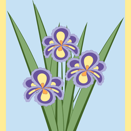 fragrant bouquet: Vector illustration of bouquet of iris flowers. Card of purple abstract flowers with leaves on the light blue background.