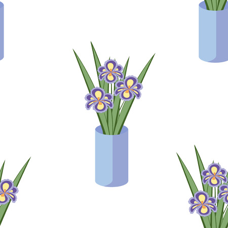 vintage texture: Vector seamless pattern with bouquets of iris flowers in blue vase on the white background. Vintage texture. Light botanical backdrop.