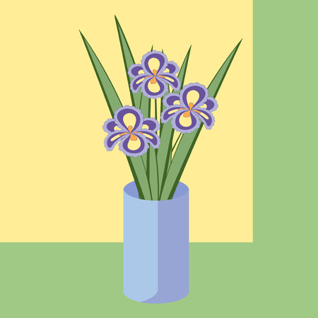 fragrant bouquet: Vector illustration of bouquet of iris flowers. Card of purple abstract flowers with leaves in blue vase.