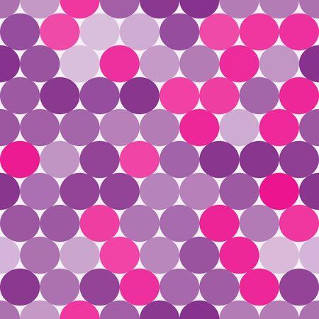 Brillante de color rosa y púrpura del vector sin patrón con círculos. Fondo geométrico abstracto.