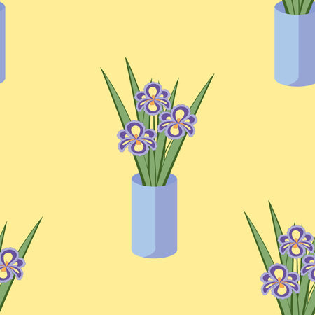 fragrant bouquet: Vector seamless pattern with bouquets of iris flowers in blue vase on the soft yellow background. Vintage texture. Light botanical backdrop. Illustration