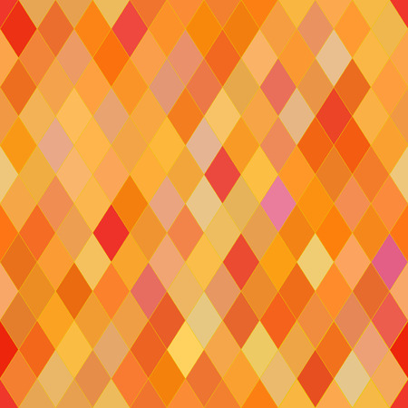 brindled: Vector seamless pattern with rhombs. Abstract orange texture. Geometrical background. Warm colors. Illustration