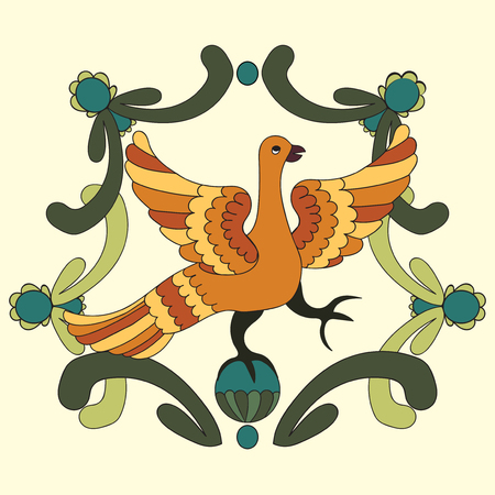 mythological: Ornamental vector illustration of mythological bird. Folkloric motive. Fairy tales, stories, myths and legends decoration.