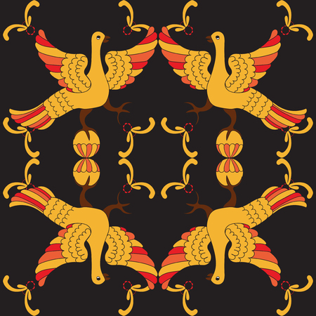motive: Ornamental vector seamless pattern with mythological birds. Yellow and red fairy birds on the black background. Hohloma style. Folkloric motive. Fairy tales, stories, myths and legends decoration.
