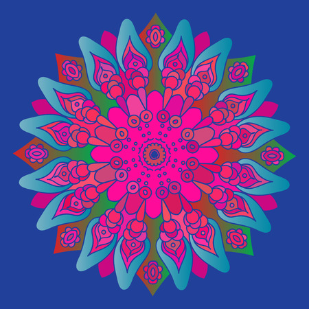 Bright pink mandala on the blue background. Isolated round element. Vector illustration.