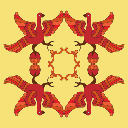 motive: Ornamental vector illustration of mythological birds. Red phoenix birds on the yellow background. Folkloric motive. Fairy tales, stories, myths and legends decoration. Illustration