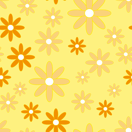 camomiles: Vector seamless patter with plane flowers. Background with simple camomiles on the soft yellow background.