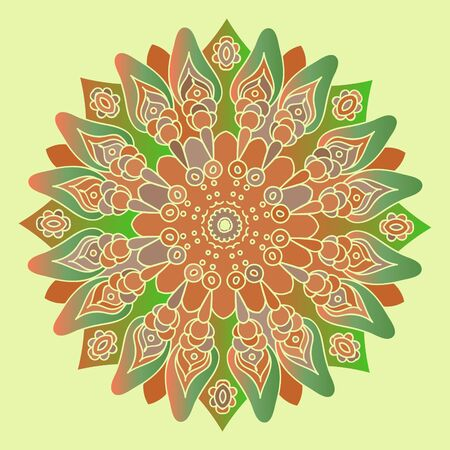 mandala vector: Green and brown mandala on the soft yellow background. Isolated round element. Vector illustration. Illustration