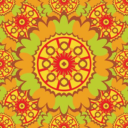 scrollwork: Bright abstract seamless pattern with round ornamental elements.
