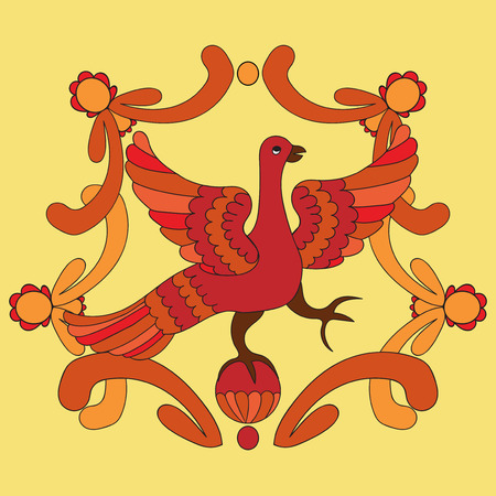 Ornamental vector illustration of mythological bird. Red phoenix bird on the yellow background. Hohloma style. Folkloric motive. Fairy tales, stories, myths and legends decoration.