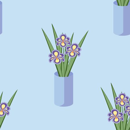fragrant bouquet: Vector seamless pattern with bouquets of iris flowers in blue vase on the green background. Vintage texture. Light botanical backdrop. Illustration