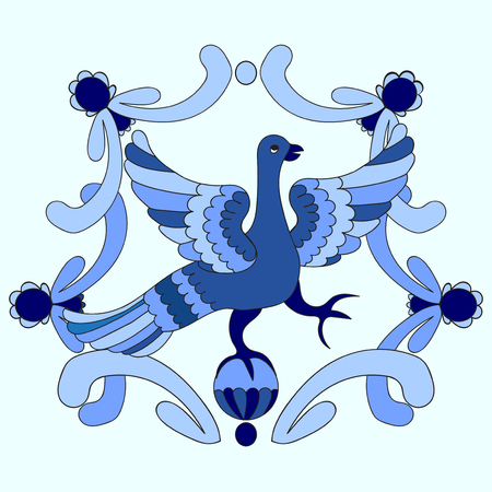 legends: Ornamental vector illustration of mythological bird. Blue template. Gzhel style. Folkloric motive. Fairy tales, stories, myths and legends decoration.