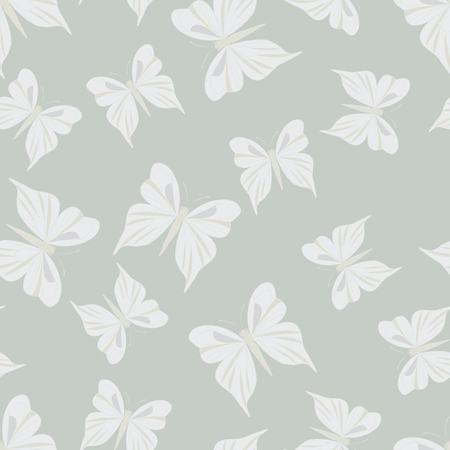 vintage texture: Seamless pattern with butterflies. Summer background. Vintage texture. Light gray backdrop. Vector illustration. Illustration