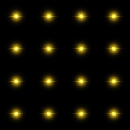 flashes: Seamless pattern of luminous stars. Illusion of light flashes. Yellow flames on a black background. Abstract background. Vector illustration.
