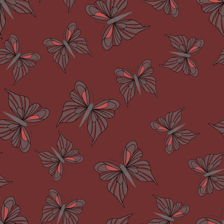 vintage texture: Seamless pattern with butterflies. Summer background. Vintage texture. Dark red backdrop. Vector illustration. Illustration