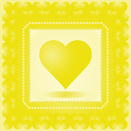 yellow heart: Vector illustration of heart. Yellow heart in frame. Wedding card. Card for Valentines Day. Illustration
