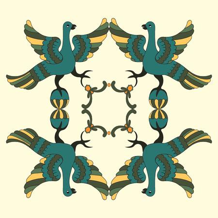 mythological: Ornamental vector illustration of mythological birds. Folkloric motive. Fairy tales, stories, myths and legends decoration. Illustration