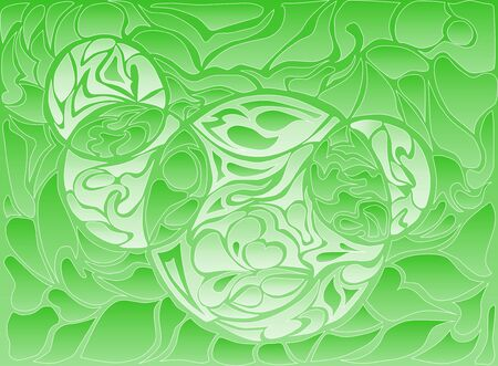 loops: Vector illustration of doodle rounds. Hand-drawn pattern. Stylized texture with loops. Line drawing on the green gradient background.