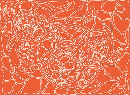 loops: Vector illustration of doodle rounds. Hand-drawn pattern. Stylized texture with loops. White drawing on the bright orange background.