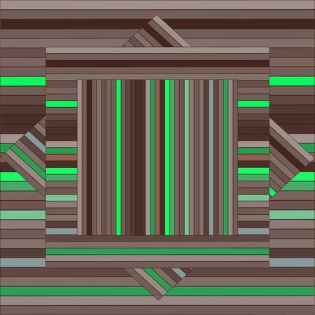 green texture: Vector pattern with lined squares. Abstract brown and green texture. Geometrical background. Monochrome backdrop. Tile template.