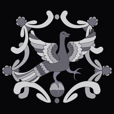 motive: Ornamental vector illustration of mythological bird. Gray fairy bird on the black background. Monochrome template. Folkloric motive. Fairy tales, stories, myths and legends decoration.