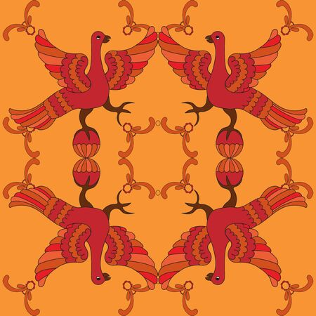 folkloric: Ornamental vector seamless pattern with mythological birds. Red fairy birds on the orange background. Illustration of phoenix. Folkloric motive. Fairy tales, stories, myths and legends decoration.