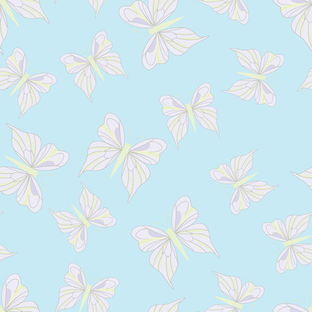 vintage texture: Seamless pattern with light pink butterflies on the blue background. Vintage texture. Summer backdrop. Vector illustration.