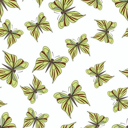 mariposas amarillas: Patrón sin fisuras con las mariposas amarillas sobre el fondo blanco. Textura de la vendimia. telón de fondo verano. Ilustración del vector. Vectores
