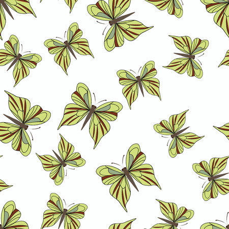 yellow butterflies: Seamless pattern with yellow butterflies on the white background. Vintage texture. Summer backdrop. Vector illustration.