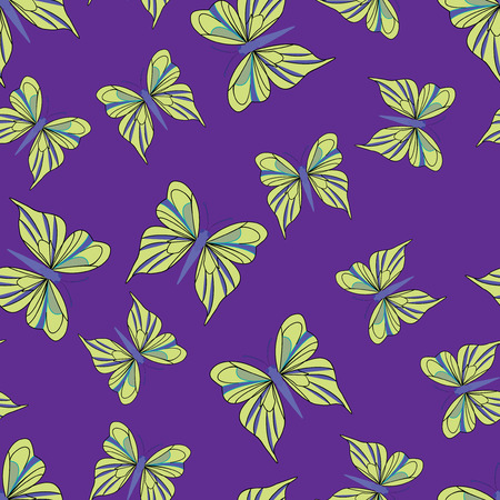 yellow butterflies: Seamless pattern with yellow butterflies on the purple background. Vintage texture. Summer backdrop. Vector illustration.